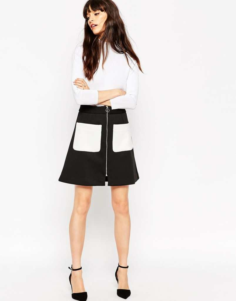 ASOS Bonded A-Line Skirt with Contrast Pockets