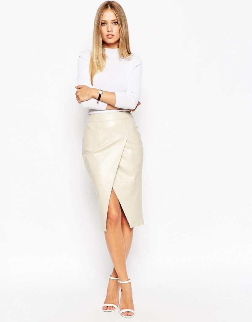 ASOS Leather Wrap Pocket Detail Skirt