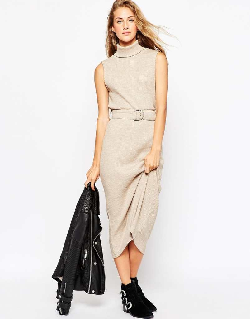 ASOS Roll Neck Midi Dress in Knitted Rib with D-Ring
