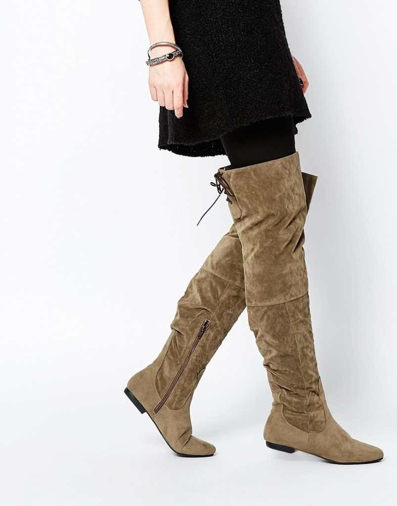 Daisy Street Khaki Over The Knee Tie Back Flat Boots