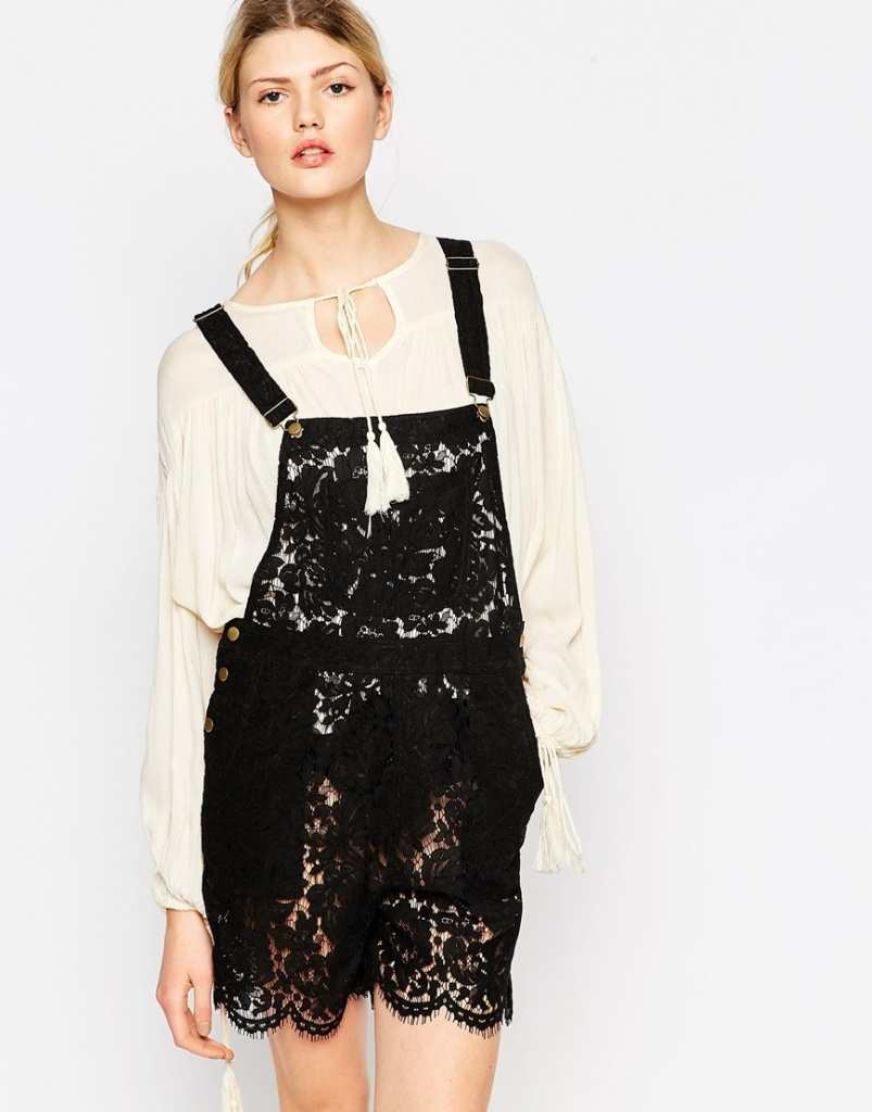 Ganni Gothic Lace Dungaree in Black