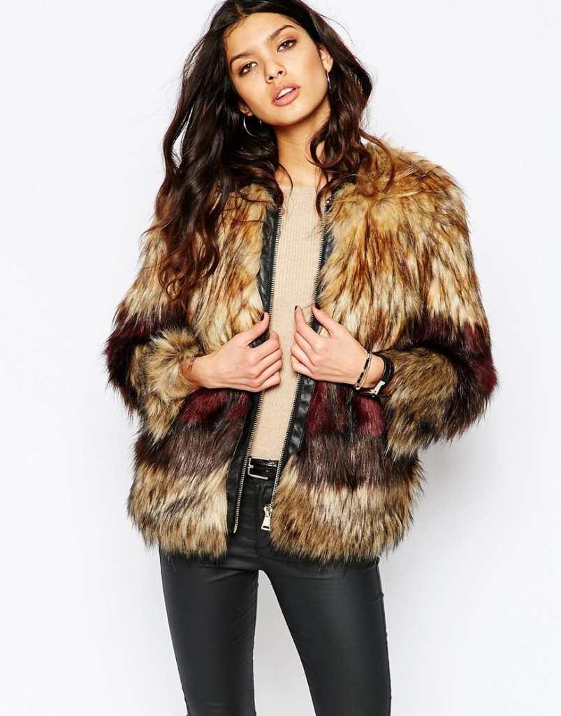 River Island Mix Faux Fur Coat