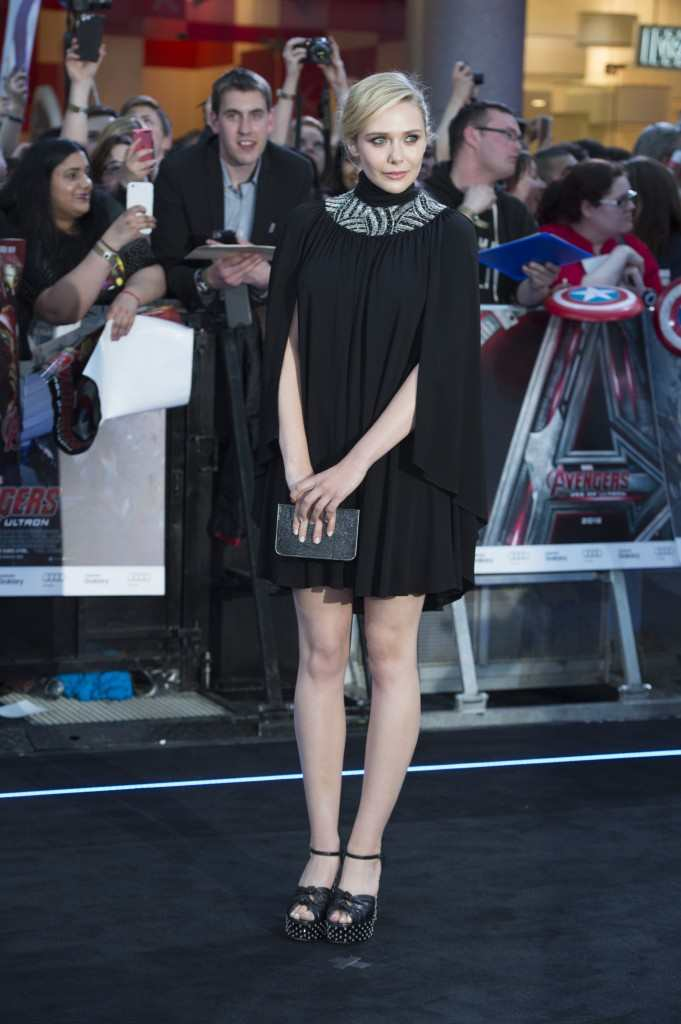 "Elizabeth Olsen attends the European premiere of Marvel's ""Avengers: Age Of Ultron"""