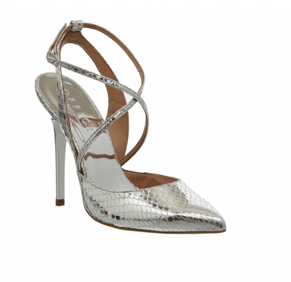 Office Primrose Strappy Point Silver Snake Leather