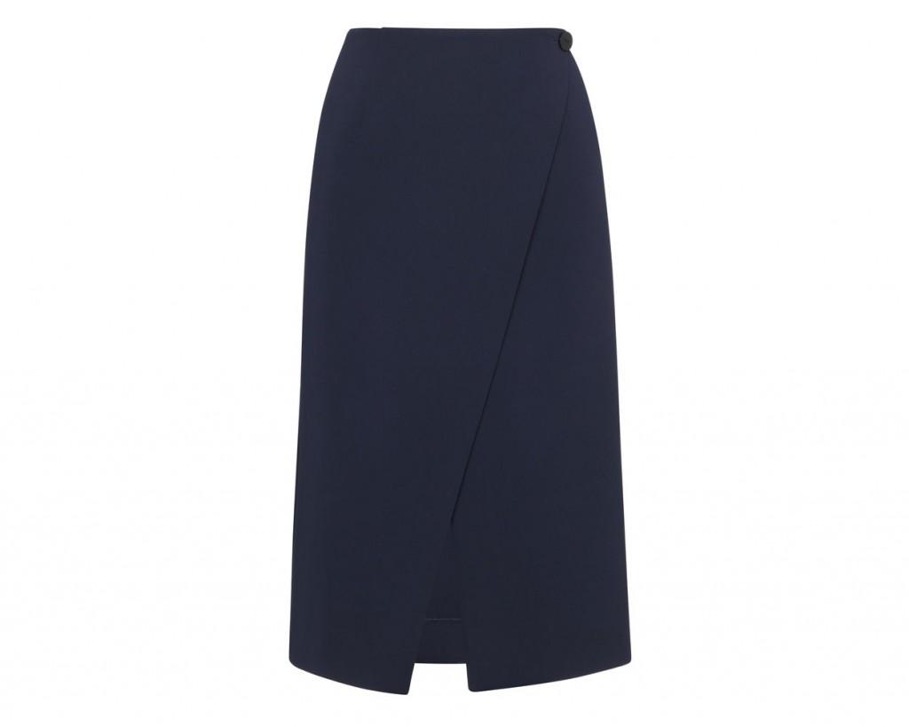 whistles navy wrap skirt