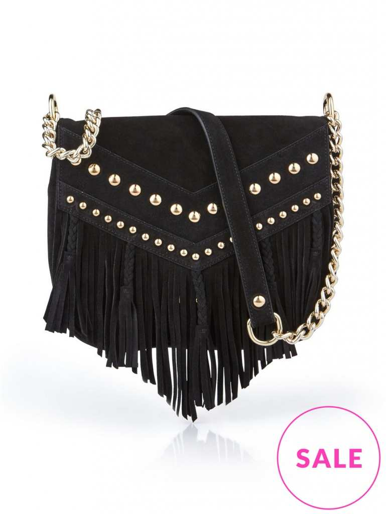 Very Exclusive Just Cavalli Suede Fringe and Stud Flap bag