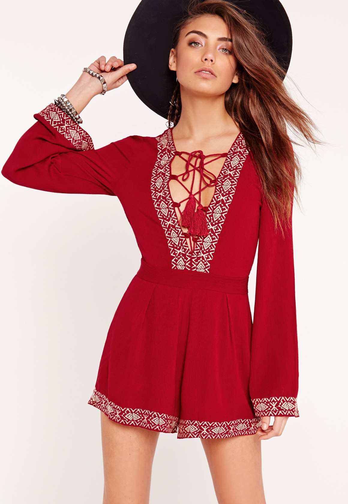 Missguided cheesecloth lace up embroidered playsuit red