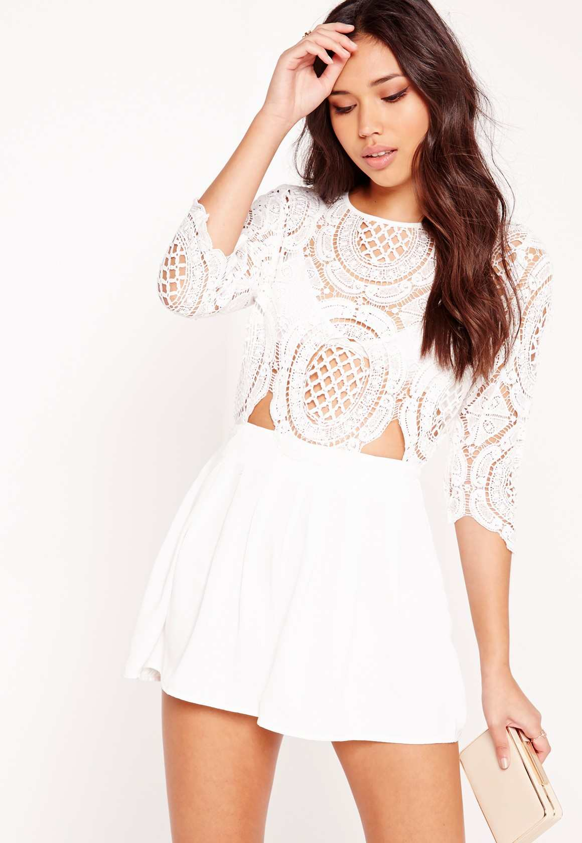 Missguided crochet lace cut out playsuit white
