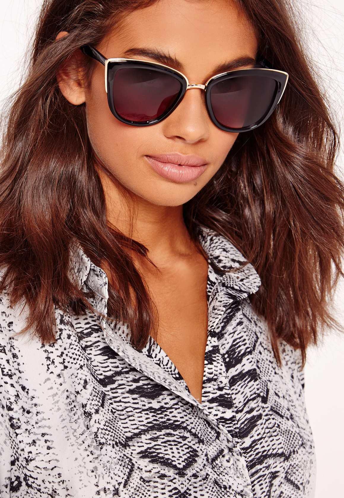 Missguided gold framed black cat eye sunglasses black