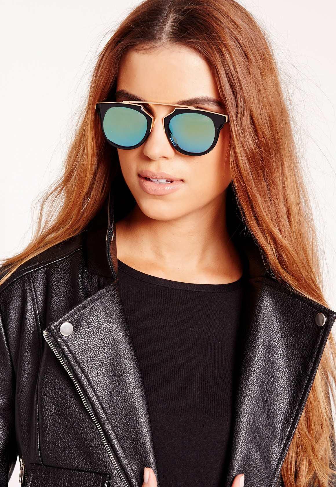 Missguided metal t-bar sunglasses yellow