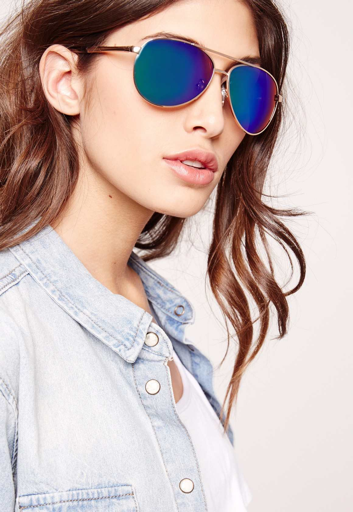 Missguided mirrored aviator sunglasses green