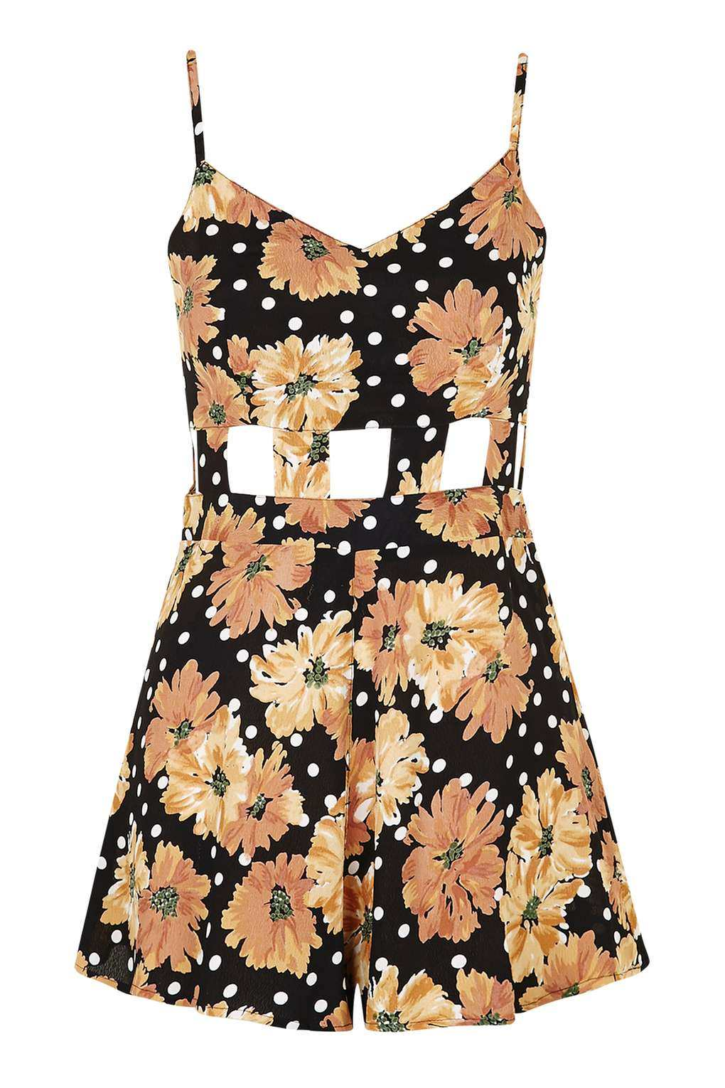 Topshop Floral Cut-Out Playsuit