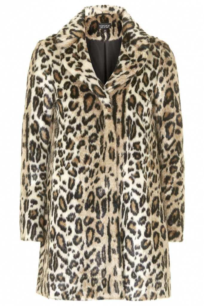 Topshop Faux Fur Animal Swing Coat