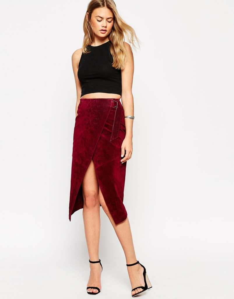 ASOS Wrap Pencil Skirt in Suede with D-Ring