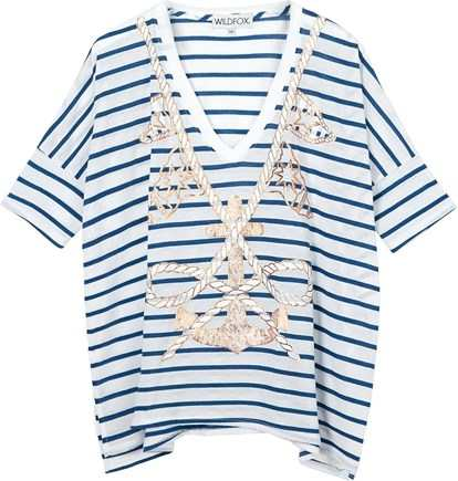 WILDFOX Anchors Away Striped T-shirt - Blue