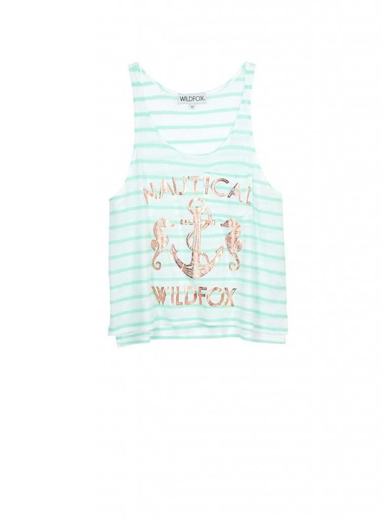 WILDFOX Nautical Striped Tank - white green