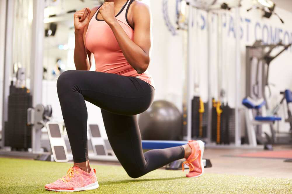 Push off from the front foot when doing lunges to really work the bum TheFuss.co.uk