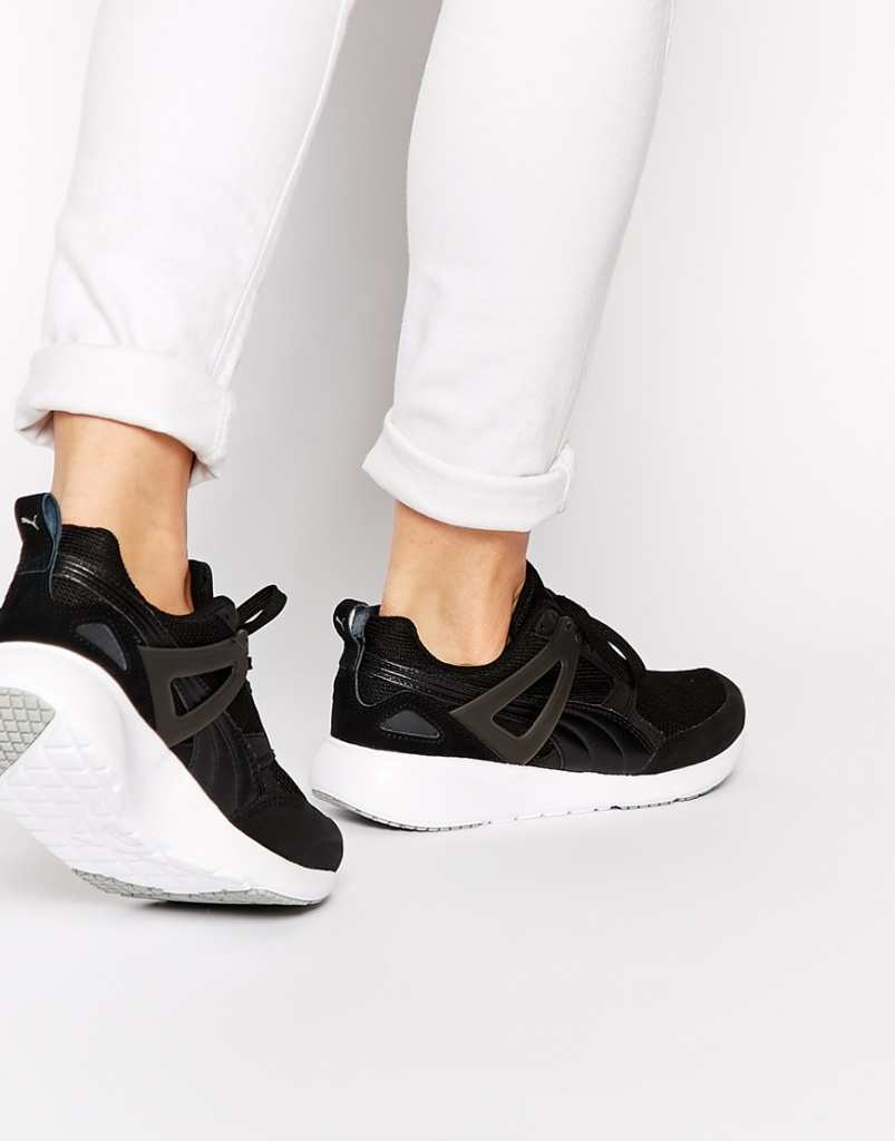 Puma Aril Black and White Trainers