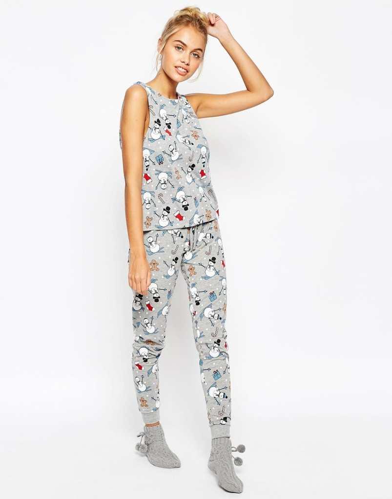ASOS Christmas Snowman Print Vest & Legging Pyjama Set