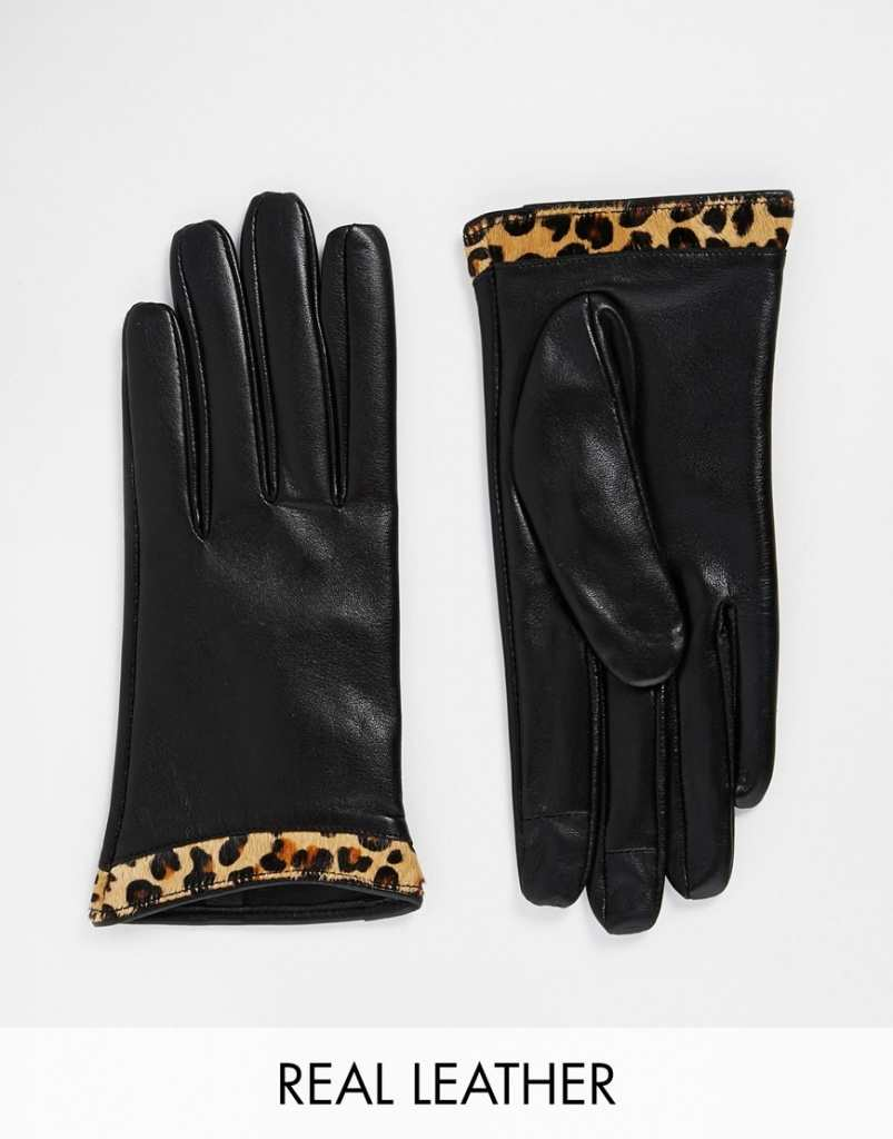 ASOS Leather Gloves With Leopard Cuff And Touch Screen Detail
