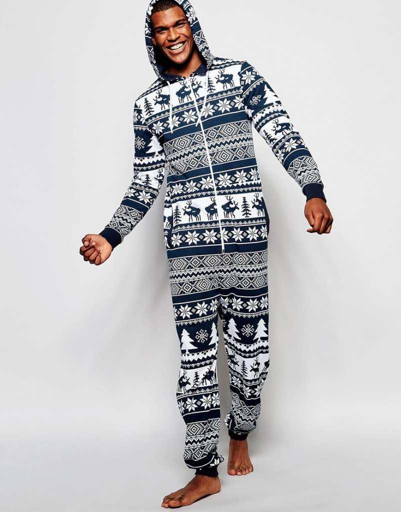 ASOS Loungewear Onesie With Reindeer Fair Isle Print