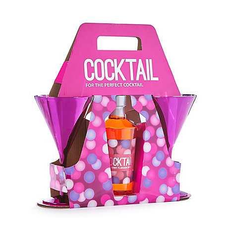 Debenhams Cosmopolitan cocktail glass and syrup set
