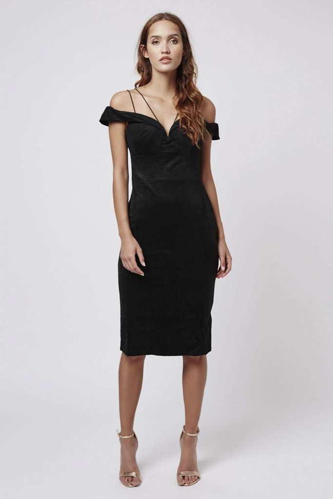 Faux Suede Bardot Midi Dress by Rare