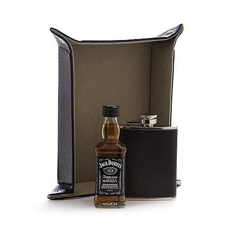 Jack Daniels Bourbon whisky and hip flask with coin tray set