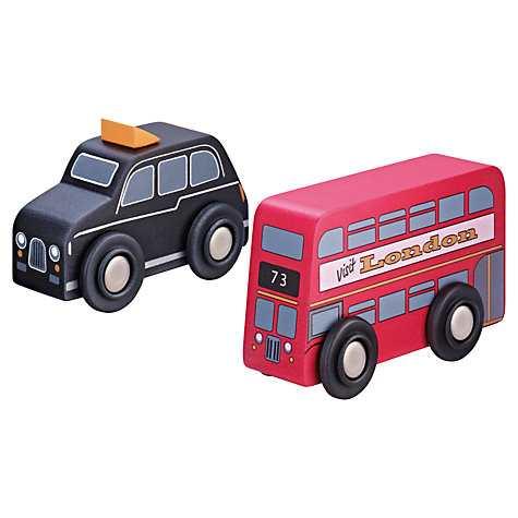John Lewis Wooden London Bus & Black Cab Set