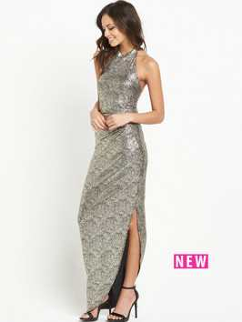 Lipsy High Neck Sequin Maxi Dress With Side Split