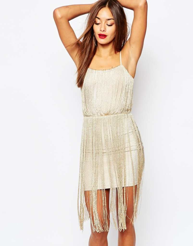 Missguided Strappy Full Tassel Mini Dress
