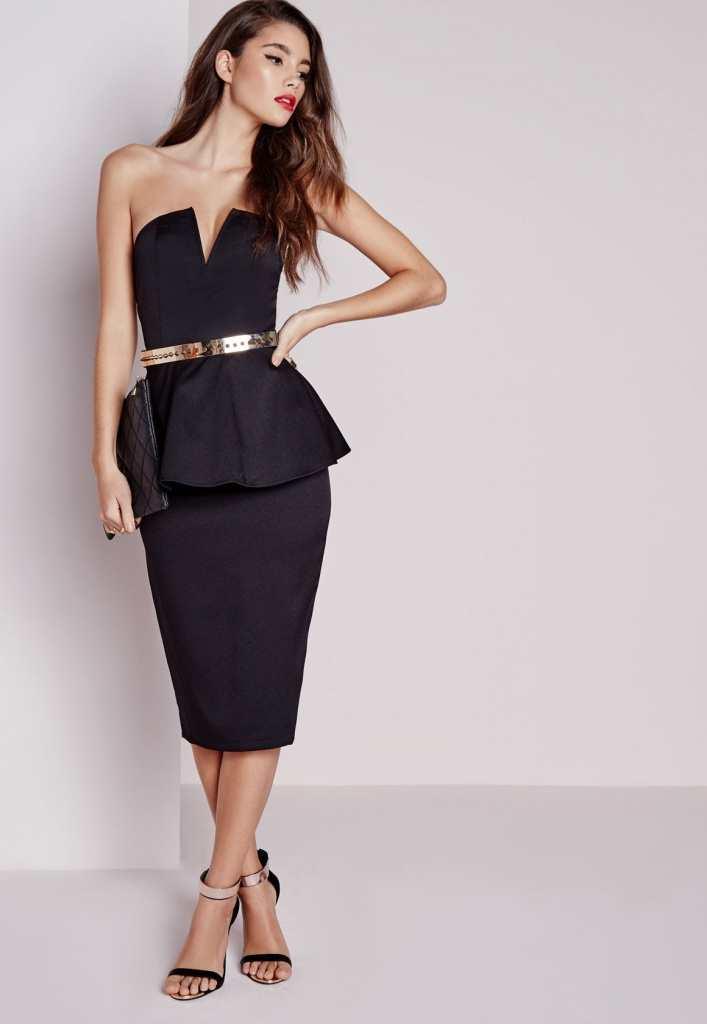 Missguided black peplum dress