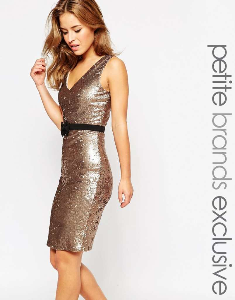 Paper Dolls Petite Sequin Pencil Dress With Bow Waist Band