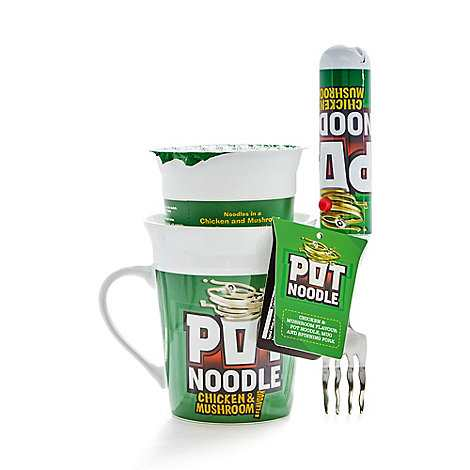 Pot Noodle Chicken and Mushroom with mug and spinning fork set