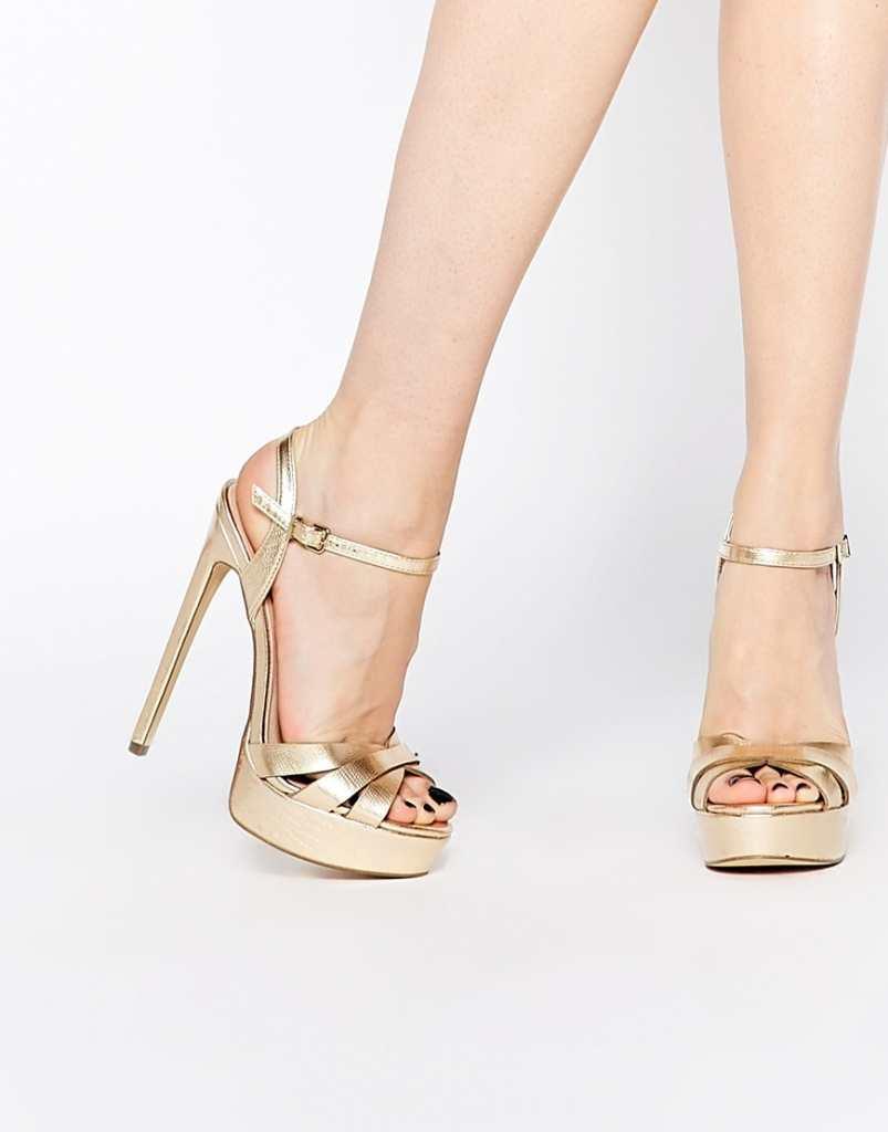 Gold Strappy Platform Heels - Is Heel
