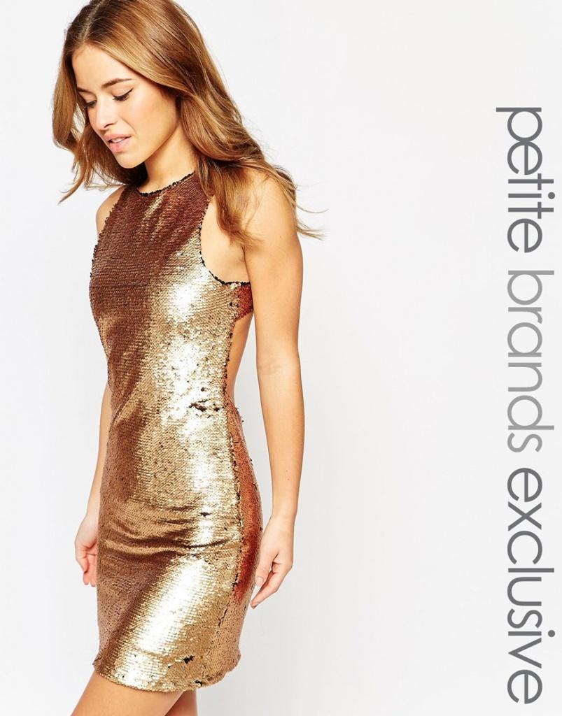 True Decadence Petite Sequin Embellished Mini Dress With Keyhole Back