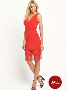 Definitions Rib V Neck Dress with Lace Insert