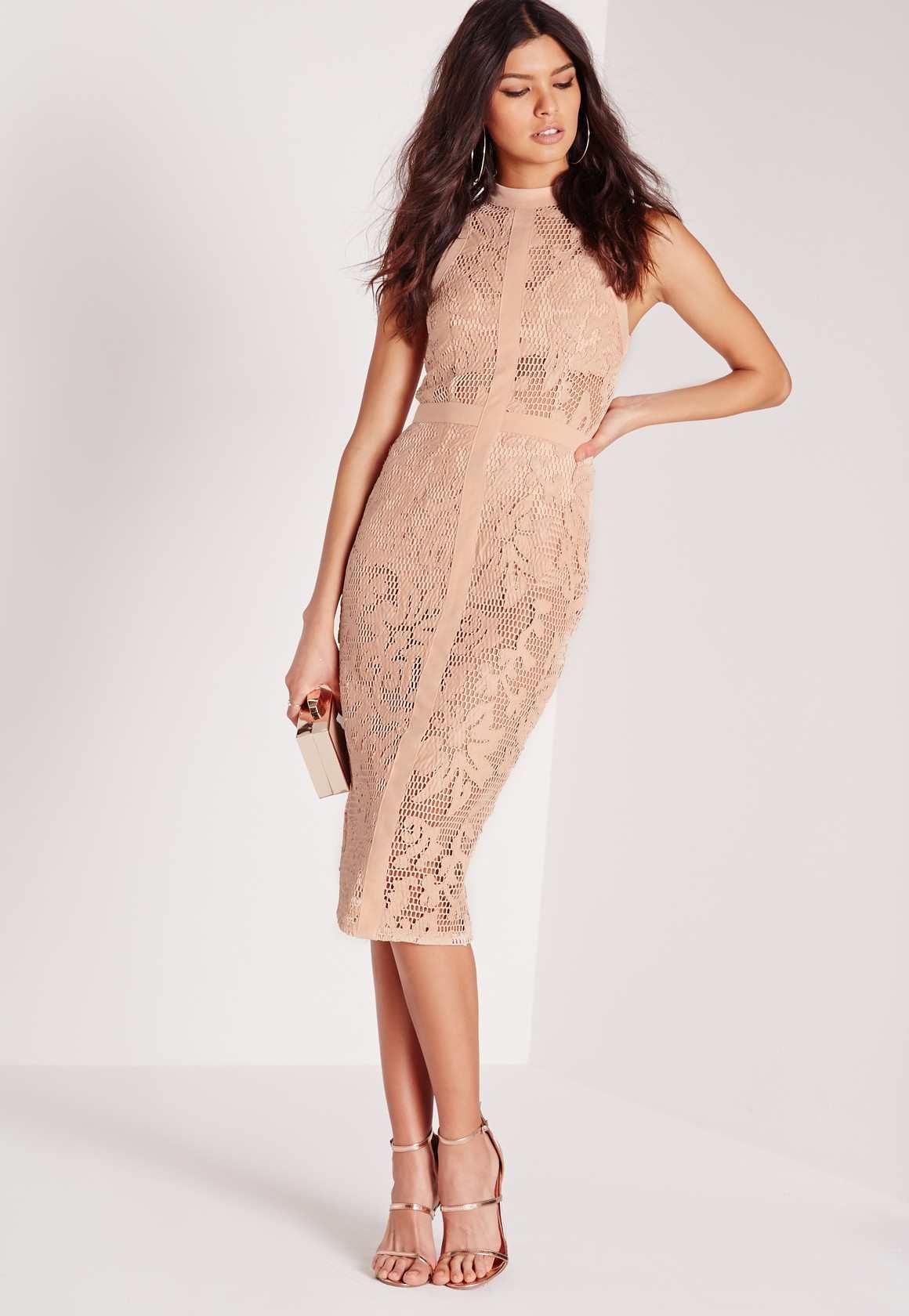 Missguided lace midi dress nude