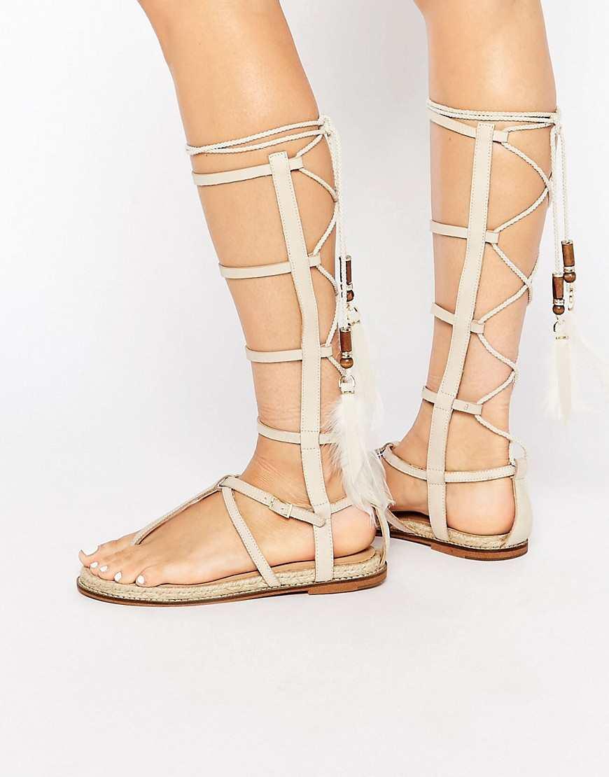 ALDO Capro White Caged Tie Up Gladiator Sandals