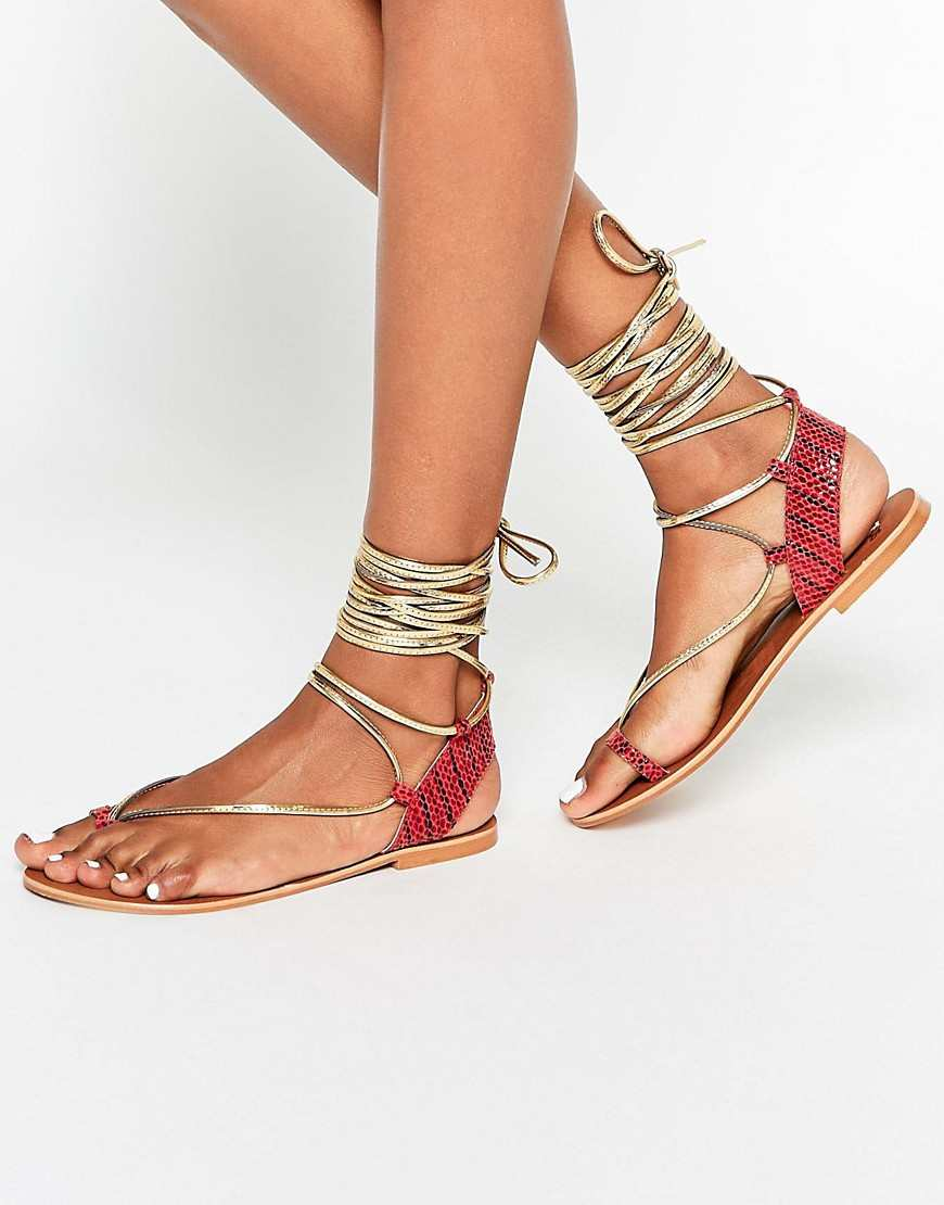 ASOS FOX Leather Tie Leg Flat Sandals