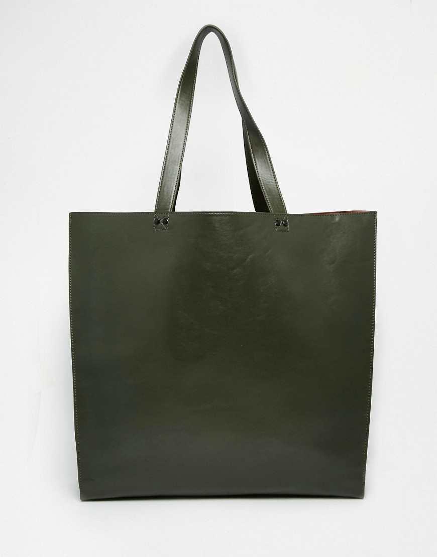 ASOS Tote Bag With Contrast Internal khaki