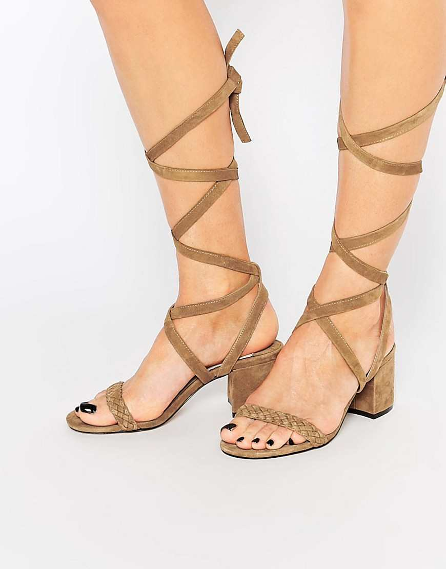 Faith Dela Tan Suede Tie Up Mid Heeled Sandals