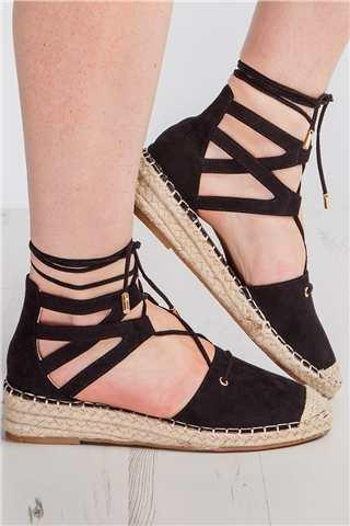 Iris Black Lace Front Espadrille Sandals