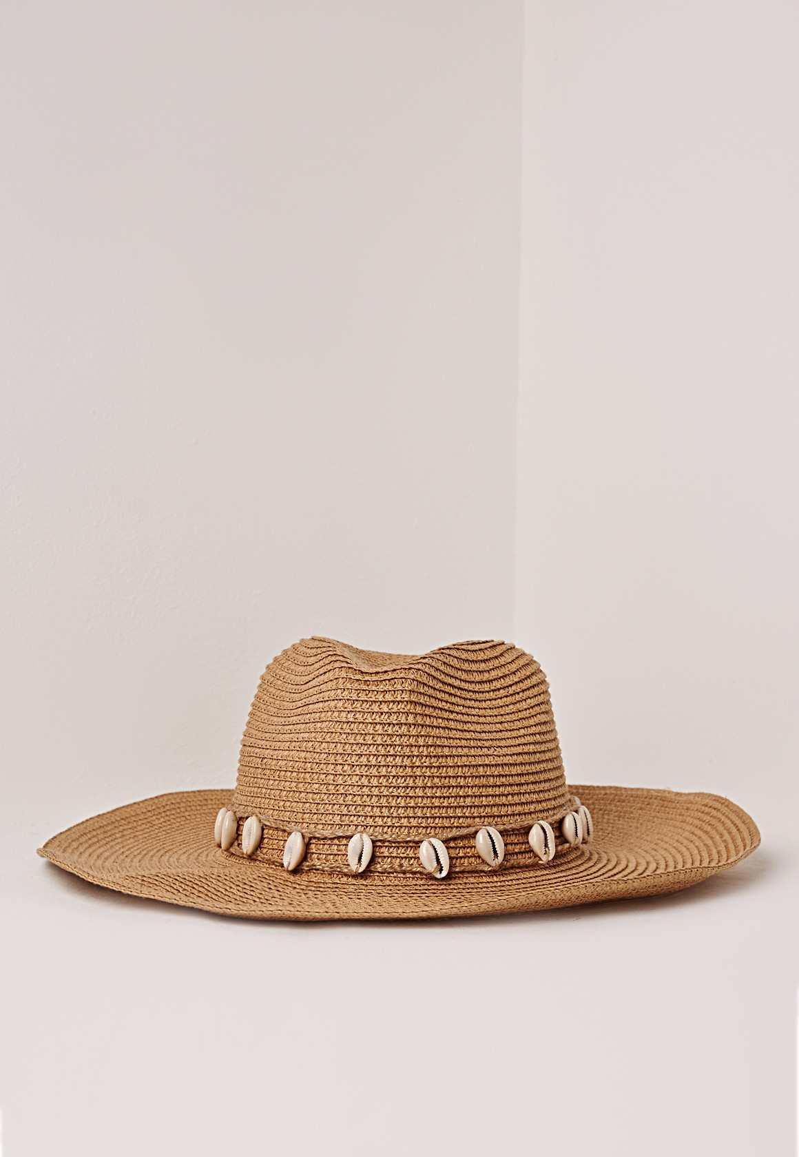 Missguided shell trim straw cowboy hat tan