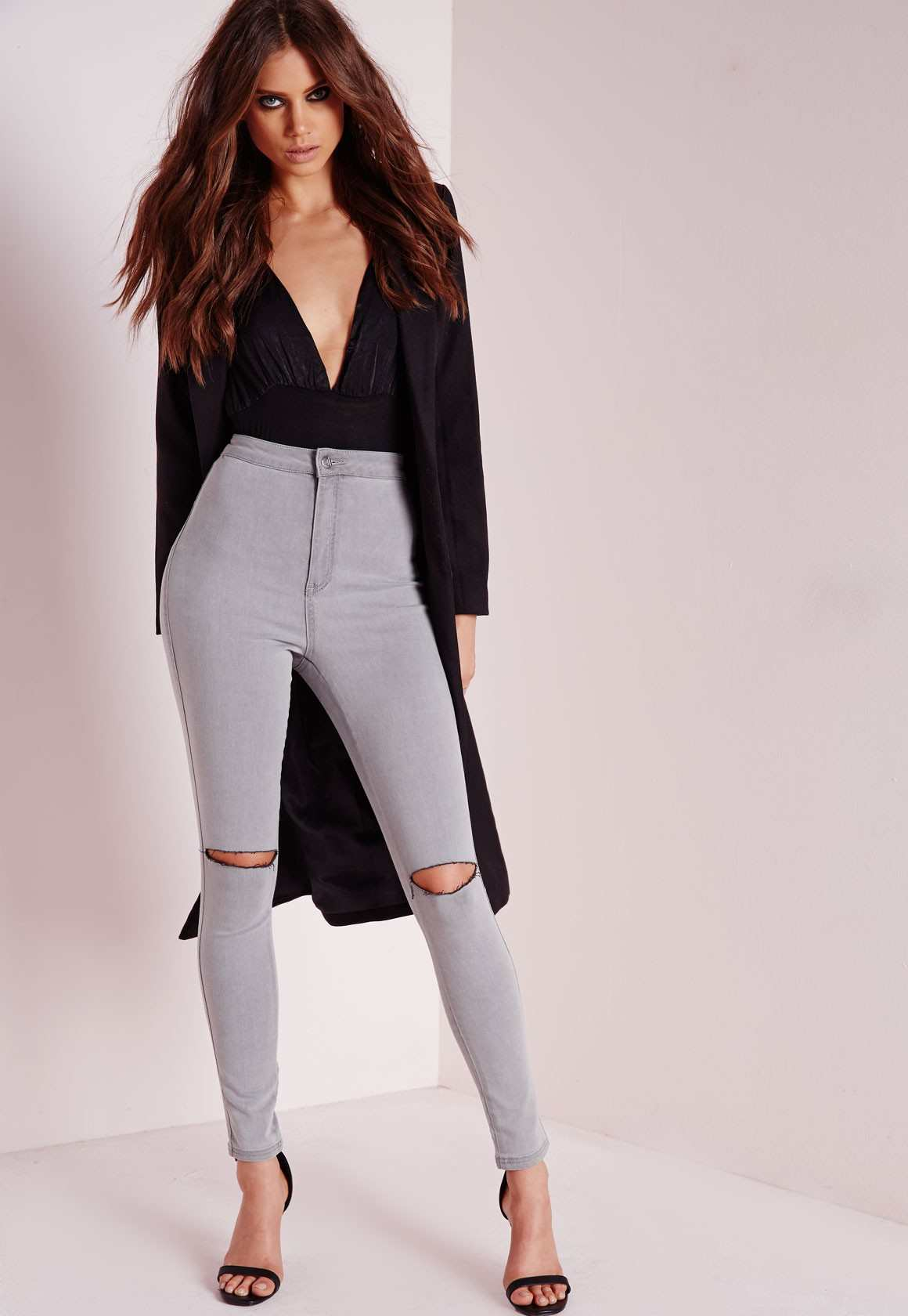 Missguided vice high waisted slash knee skinny jeans grey