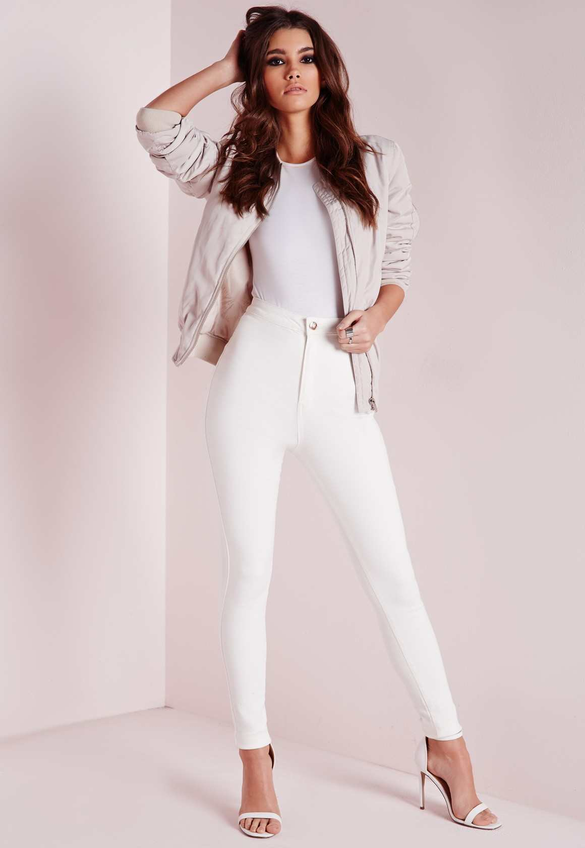 Missguided vice super stretch high waisted skinny jeans white