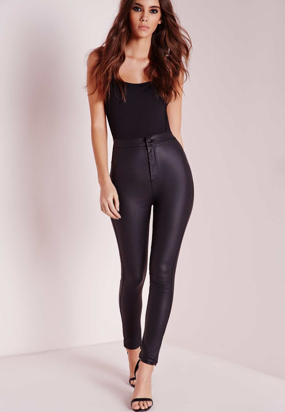 Missguided vice super stretch wet look high waisted coated skinny jeans black