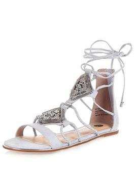 River Island Flat Embellished Ankle Tie Gladiator Sandal