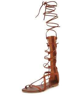 V by Very Delphy Knee High Lace Up Gladiator Flat Sandal