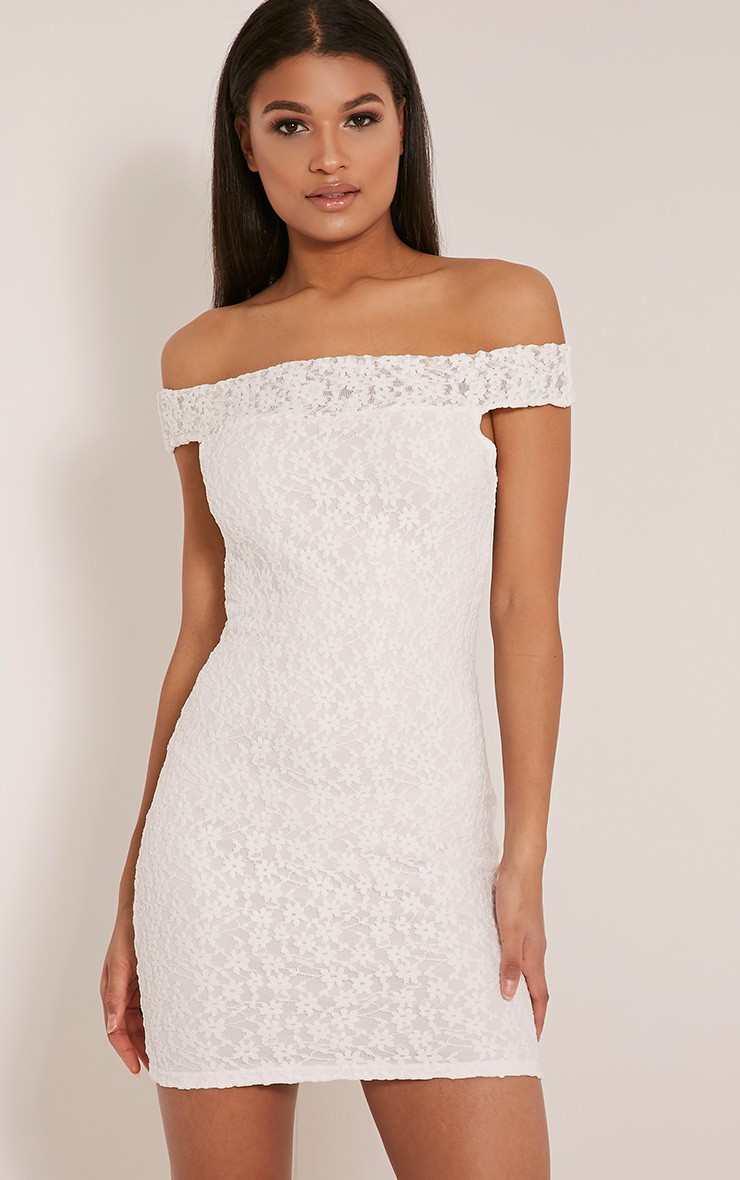 AIDA WHITE BARDOT LACE BODYCON DRESS